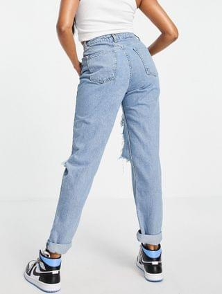 WOMEN Hourglass high rise 'original' mom jeans in midwash with rips