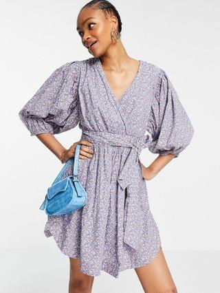 WOMEN Y.A.S organic cotton mini dress with puff sleeve detail in lilac floral