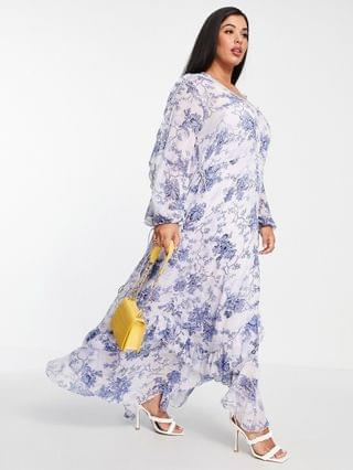 WOMEN Curve drape ruffle Maxi dress with lace insert and tassle detail in blue floral print