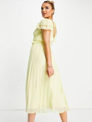 WOMEN plunge pleated midi dress in broderie textured in yellow