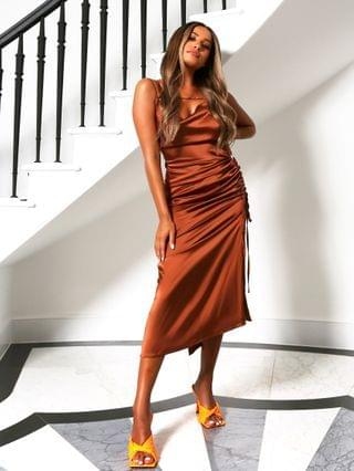 WOMEN Public Desire x Amber Gill satin strappy cami midi dress with ruched side detail in chocolate
