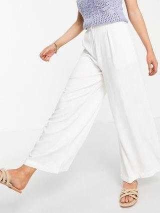 WOMEN Petite washed linen suit wide leg pant in white