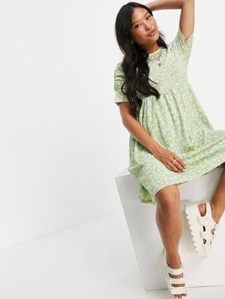 WOMEN Only Petite mini dress with ruched sleeve detail in green floral print