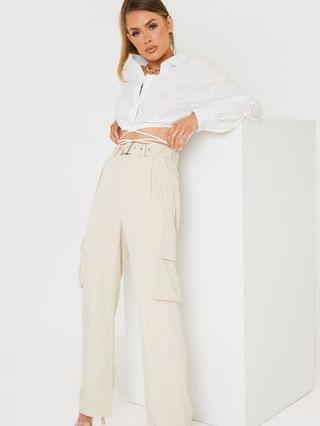 WOMEN In The Style x Naomi Genes wide leg cargo pant in stone