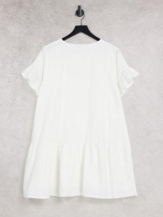 WOMEN In The Style x Jac Jossa button down frill smock dress in white