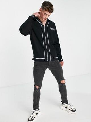 Dark Future oversized jersey baseball jacket with piping and logo prints in black