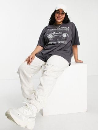 WOMEN Curve oversized t-shirt with world sport graphic in washed charcoal