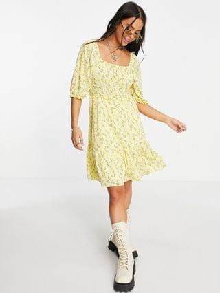 WOMEN Only mini smock dress with puff sleeve in yellow ditsy floral