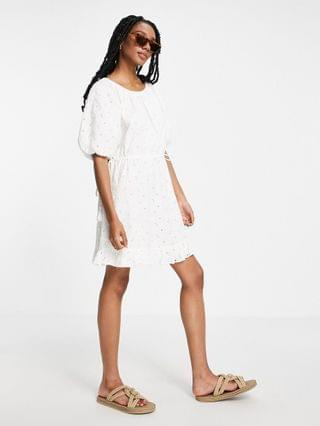 WOMEN River Island broderie puff sleeve tiered mini dress in white