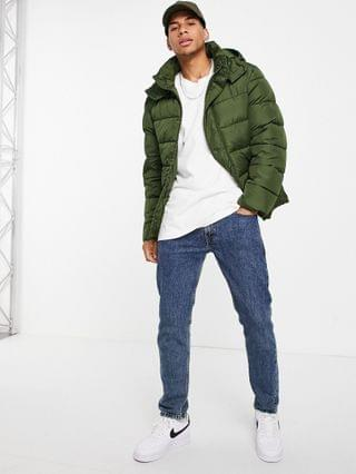 sustainable midweight puffer jacket with detachable hood in khaki