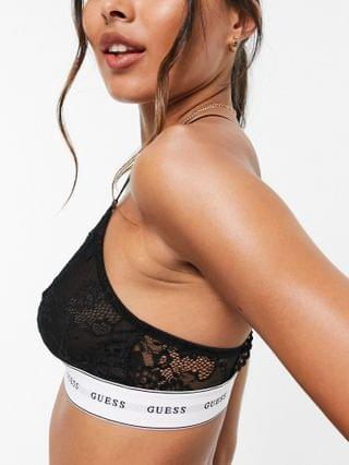 WOMEN Guess lace triangle logo bra in black - part of a set