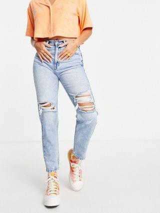 WOMEN Pull&Bear mom jeans with rips in light blue