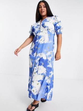 WOMEN Never Fully Dressed Plus puff sleeve button midi dress in gold star blue sky print
