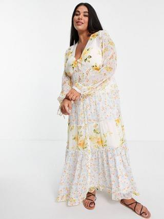 WOMEN Curve soft wafty maxi dress in mixed ditsy floral print