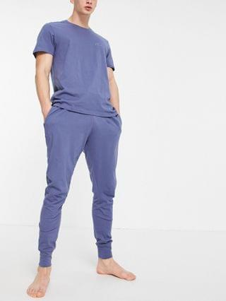 New Look embroidered lounge t-shirt & sweatpants set in blue