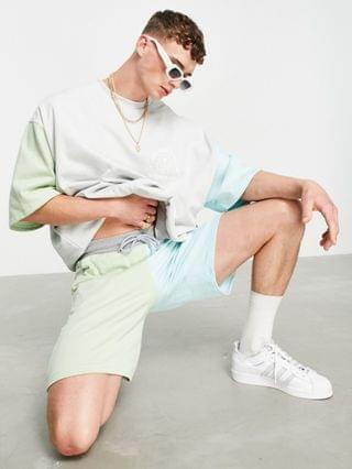 slim shorts in pastel color block - part of a set