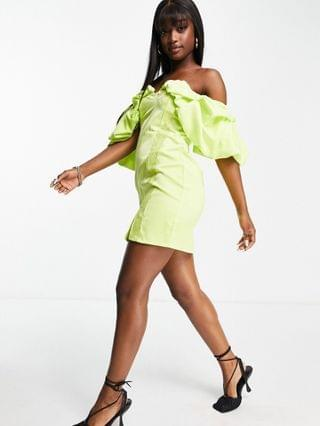 WOMEN Lashes Of London puff sleeve mini dress with lace in lime