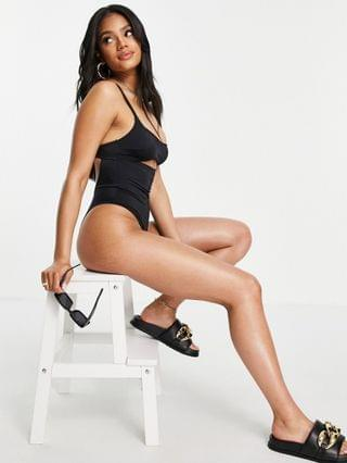 WOMEN Free Society cut out swimsuit in black