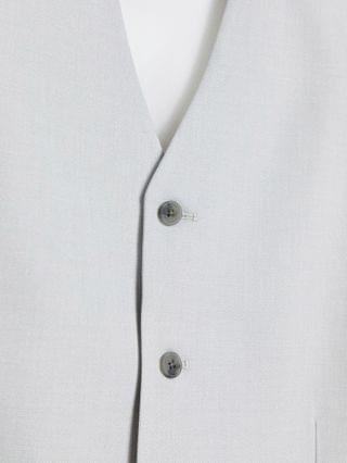 Tall wedding slim suit vest in micro texture in ice gray