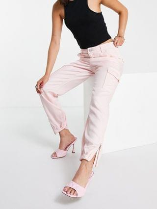 WOMEN Guess utility cargo pants in pink