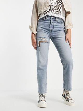 WOMEN Topshop Dad jean with open thigh rip in bleach