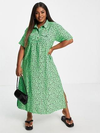 WOMEN Wednesday's Girl Curve relaxed midi shirt dress in ditsy floral