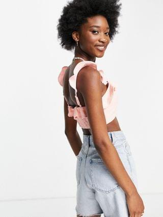 WOMEN New Look frill detail beach cami top in pink