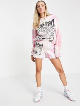WOMEN New Girl Order oversized sweatshirt in tie-dye with graphic - part of a set