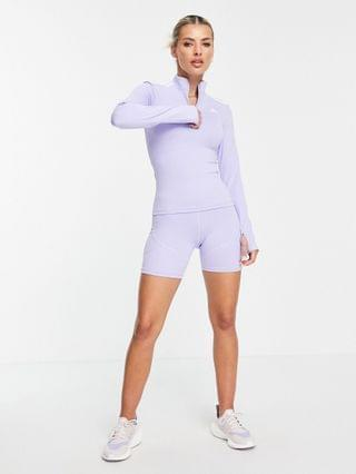 WOMEN adidas Training long sleeve top with 1/4 zip in lilac