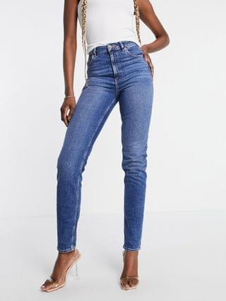 WOMEN Tall high rise 'Farleigh' slim mom jeans in authentic midwash