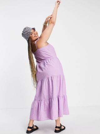 WOMEN Pieces Curve strappy tiered midi dress in lilac