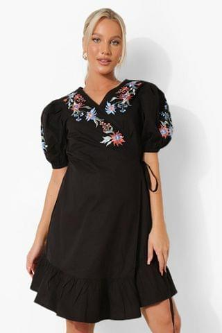 WOMEN Maternity Embroidered Wrap Smock Dress