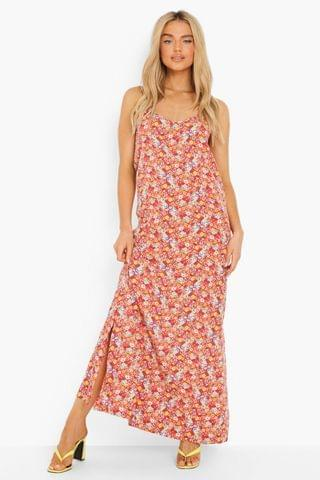 WOMEN Floral Plunge Back Strappy Maxi Dress
