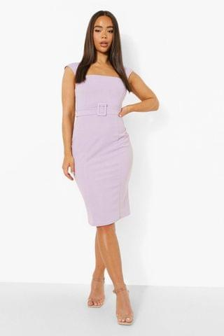 WOMEN Square Neck Belted Wiggle Dress