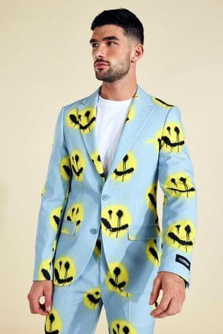 MEN Single Breasted Face Print Suit Jacket
