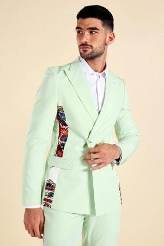 MEN Double Breasted Tape Print Suit Jacket