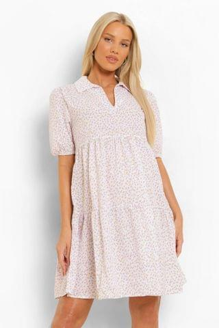 WOMEN Maternity Collar Tiered Floral Smock Dress