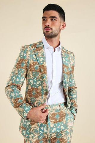 MEN Single Breasted Tapestry Suit Jacket
