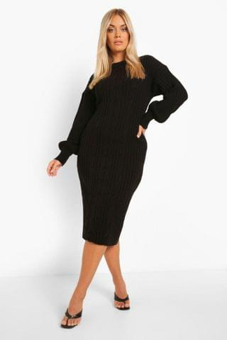 WOMEN Plus Balloon Sleeve Cable Knitted Midi Dress