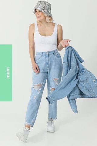 WOMEN Abraised Mom Jeans