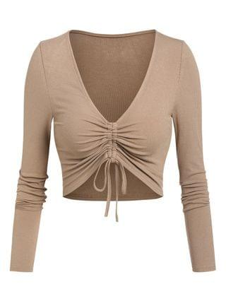 WOMEN Plunge Neck Cinched Ribbed Cropped T-shirt