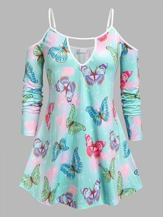 WOMEN Plus Size Cold Shoulder Butterfly Print Keyhole Tee