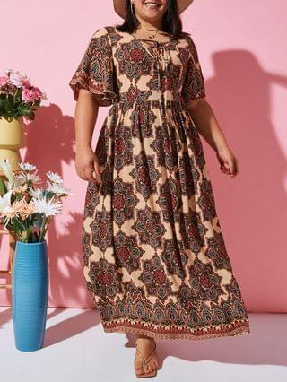 WOMEN Flutter Sleeve Ethnic Printed Lace Up Plus Size Dress