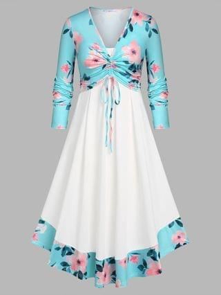 WOMEN Plus Size Cinched Front Floral Top and Dress Set