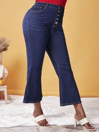 WOMEN Plus Size Button Fly Flare Jeans