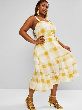 WOMEN Plus Size Plaid Belted Tiered Dress