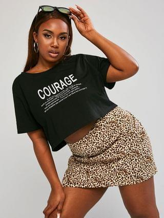 WOMEN Plus Size Letter Graphic Cropped Top and Leopard Skirt Set
