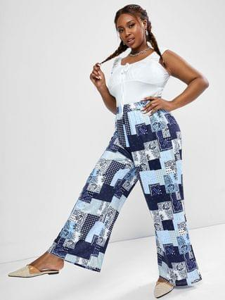 WOMEN Plus Size Ruched Sleeveless Top and Paisley Patchwork Print Wide Leg Pants