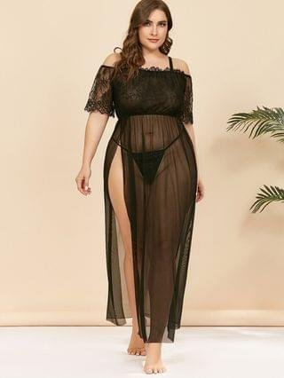 WOMEN Plus Size Lace and Mesh Lingerie Gown