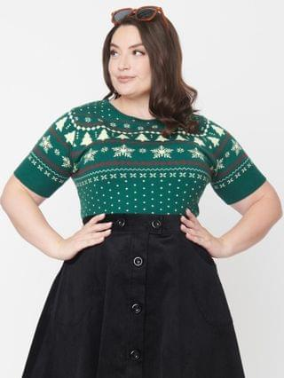 WOMEN Hell Bunny Plus Size Green Trees & Snowflake Sweater